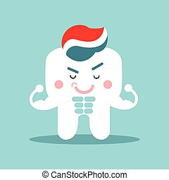 Cute cartoon muscular tooth character with toothpaste, dental vector Illustration for kids
