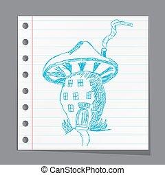 Cute cartoon mushroom house, sketch