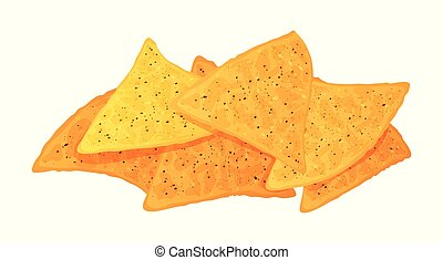Cute cartoon nachos isolated on a white background. Vector illustration.