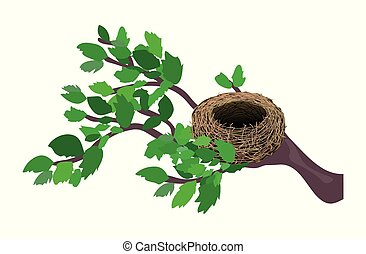 Cute cartoon nest isolated on a white background. Vector illustration.
