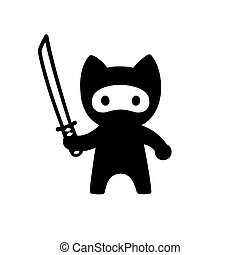 Cute cartoon ninja cat