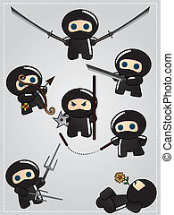 Cute cartoon ninja warriors - Collection of cute cartoon...