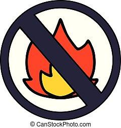 cute cartoon no fire sign