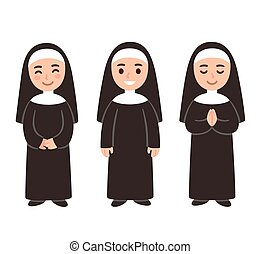 Cute cartoon nun set - Cute cartoon nun drawing set, smiling...