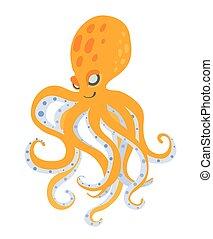 Cute cartoon octopus, vector illustration, isolated on white.
