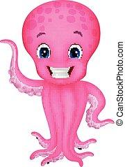 Cute cartoon octopus waving