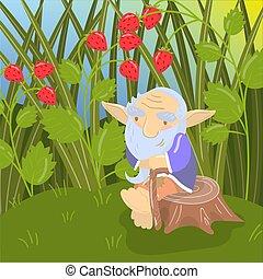 Cute cartoon old bearded troll sitting on a stump, green summer landscape vector illustration