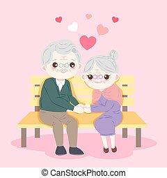 cute cartoon old couple