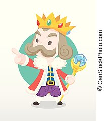 Cute cartoon old king illustration