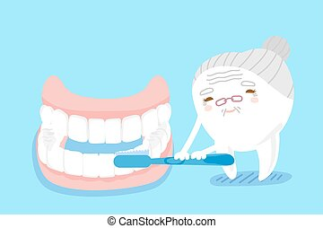 tooth brush with false tooth