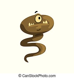 Cute cartoon one eyed tailed monster character with funny face vector Illustration on a white background