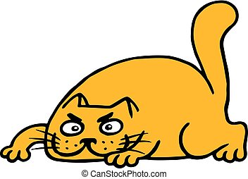 Cute cartoon orange cat preys