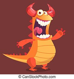Cute cartoon orange dragon monster. Vector illustration.