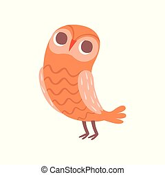 Cute cartoon orange owlet bird character vector Illustration on a white background