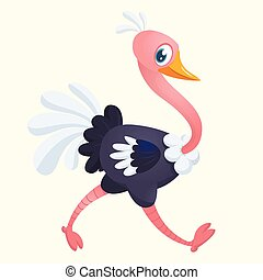 Cute cartoon ostrich. Vector character illustration