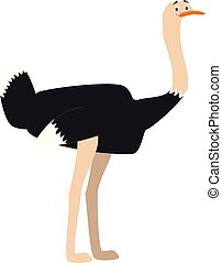 Cute cartoon ostrich vector illustration