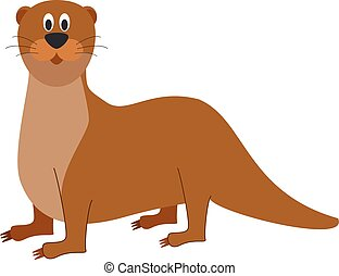 Cute cartoon otter vector illustration