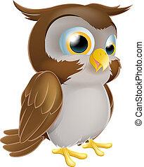 Cute Cartoon owl - An illustration of a cute standing ...