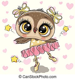 Cartoon Owl Ballerina on a hearts background