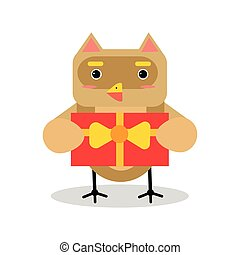 Cute cartoon owl bird character in geometric shape holding red gift box vector Illustration