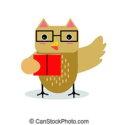 Cute cartoon owl bird character in geometric shape wearing glasses and holding red gift box vector Illustration