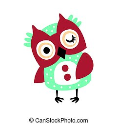 Cute cartoon owl bird winking colorful character vector Illustration
