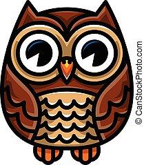Cute Cartoon Owl Bird with Big Eyes