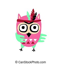 Cute cartoon owl bird with feathers on its head colorful character vector Illustration