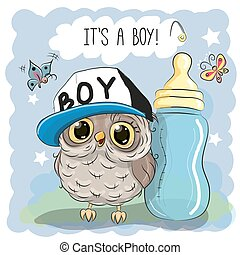 Cute Cartoon Owl Boy