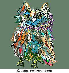 Cute cartoon Owl, cartoon drawing, illustration for...