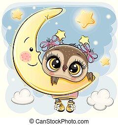 Cartoon Owl Girl on the moon