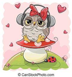 Cute cartoon Owl Girl with headphones