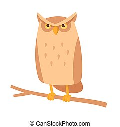 Cute cartoon owl sitting on branch. Funny frowning horned...