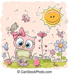 Cute Cartoon Owl on the meadow with flowers