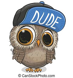 Cartoon Owl in a cap on a white background