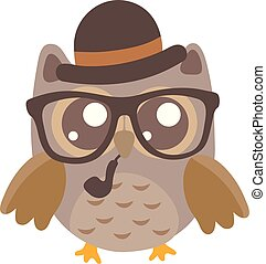 Cute cartoon owl in a hat.