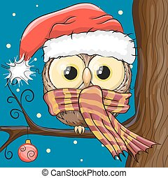 Owl in a Santa hat