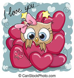 Cute Cartoon Owl in hearts