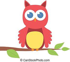 Cute cartoon owl on a branch