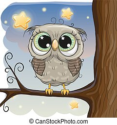Cute Cartoon Owl on a brunch