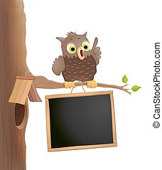 Cute cartoon owl on a twig with blackboard. Education theme background. Back to school background. vector illustration