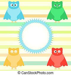 cute cartoon owl set on colorful background