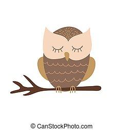 Cute cartoon owl sitting on a branch