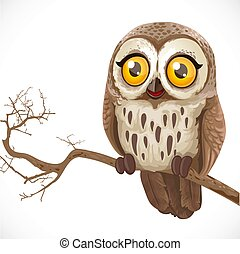 Cute cartoon owl sitting on a branch isolated on a white background