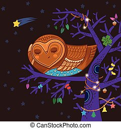 Cute cartoon owl sleep on the magic tree