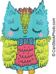 cute cartoon owl. vector animal illustration