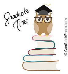 cute cartoon owl with eyeglasses and graduation cap on books. isolated on white vector
