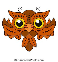 Cute Cartoon Owl With Feathers On White Background. Vector