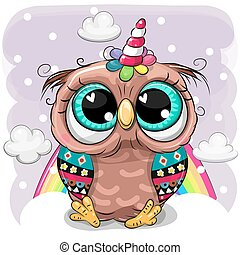 Cartoon Owl with the horn of a unicorn on clouds