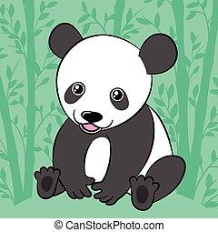Cute cartoon panda in bamboo